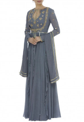 Embroidered Cotton Mulmul Abaya Style Suit in Grey
