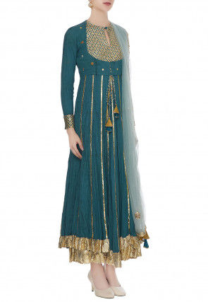 Embroidered Cotton Mulmul Abaya Style Suit in Teal Blue