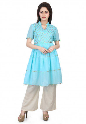 Embroidered Cotton Mulmul Flared Kurti Set in Blue