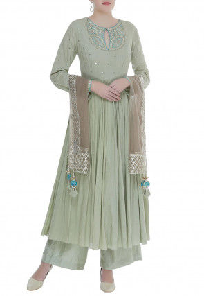 Embroidered Cotton Mulmul Pakistani Suit in Pastel Green