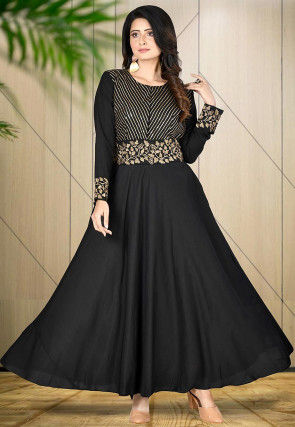 Embroidered Cotton Muslin Gown in Black