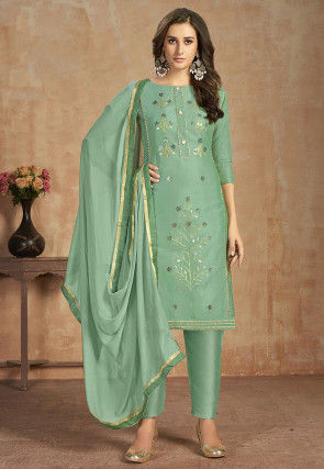 Embroidered Cotton Pakistani Suit Dusty Green