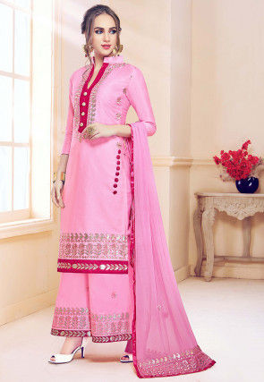 Embroidered Cotton Pakistani Suit in Baby Pink