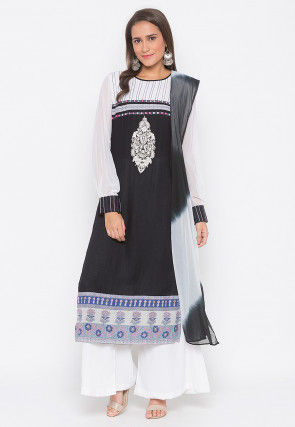 Embroidered Cotton Pakistani Suit in Black and Off White