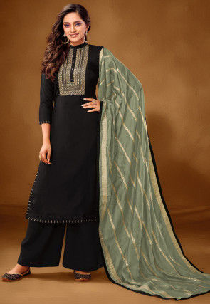 Embroidered Cotton Pakistani Suit in Black