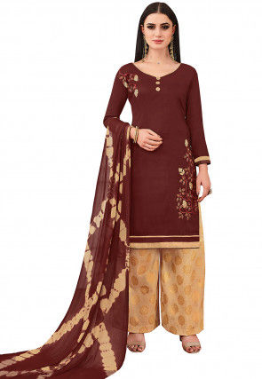 Embroidered Cotton Pakistani Suit in Brown