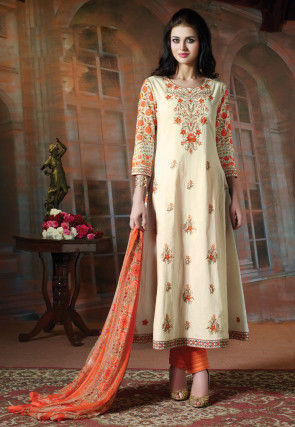 Embroidered Cotton Pakistani Suit in Cream