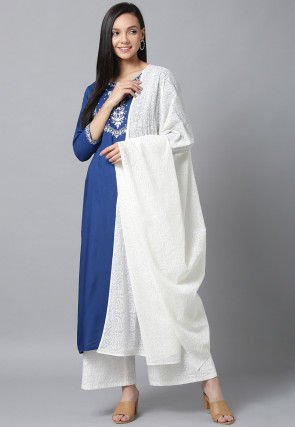 Embroidered Cotton Pakistani Suit in Dark Blue