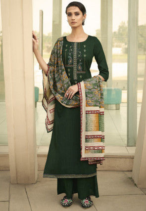 Embroidered Cotton Pakistani Suit in Dark Green