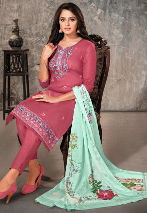 Embroidered Cotton Pakistani Suit in Dark Old Rose