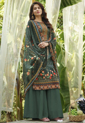 Embroidered Cotton Pakistani Suit in Dark Teal Green
