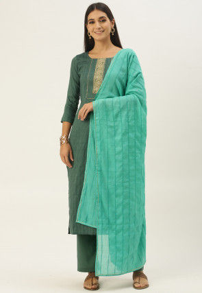 Embroidered Cotton Pakistani Suit in Dusty Green