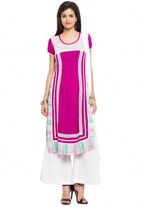 Embroidered Cotton Pakistani Suit in Fuchsia