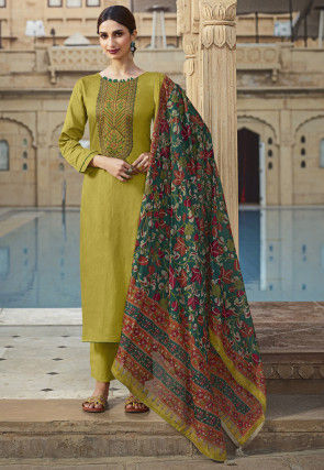 Embroidered Cotton Pakistani Suit in Green