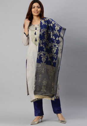 Embroidered Cotton Pakistani Suit in Grey