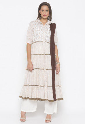 Embroidered Cotton Pakistani Suit in in Off White