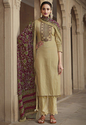 Embroidered Cotton Pakistani Suit in Light Beige