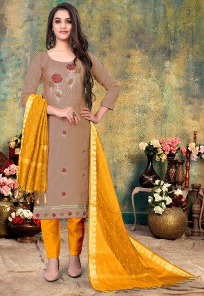 Embroidered Cotton Pakistani Suit in Light Brown