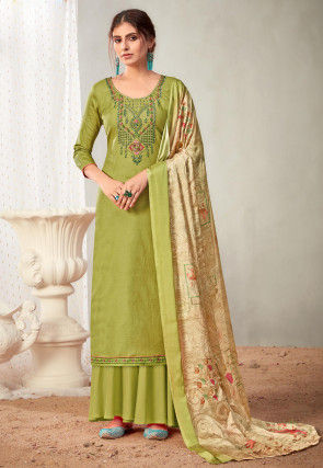 Embroidered Cotton Pakistani Suit in Light Green