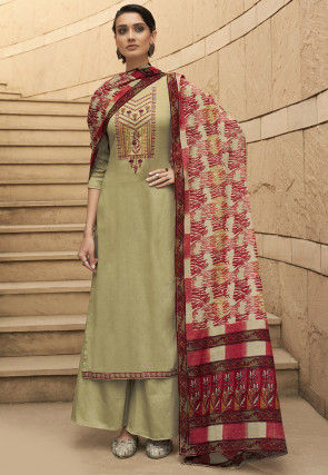 Embroidered Cotton Pakistani Suit in Light Pastel Green