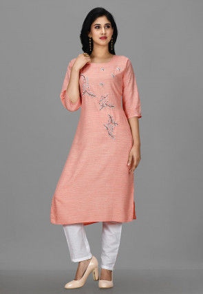 Embroidered Cotton Pakistani Suit in Light Peach