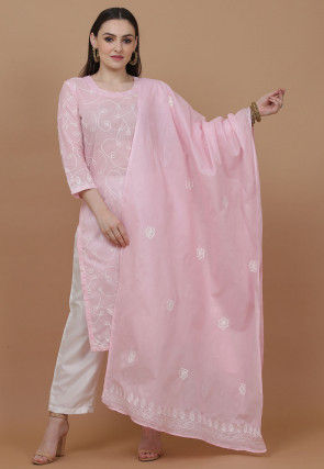 Embroidered Cotton Pakistani Suit in Light Pink