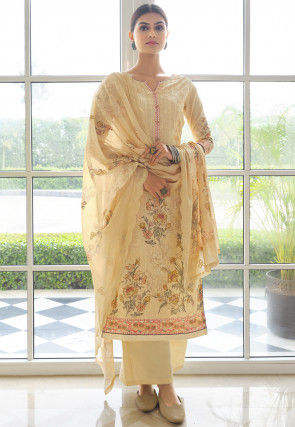 Embroidered Cotton Pakistani Suit in Light Yellow