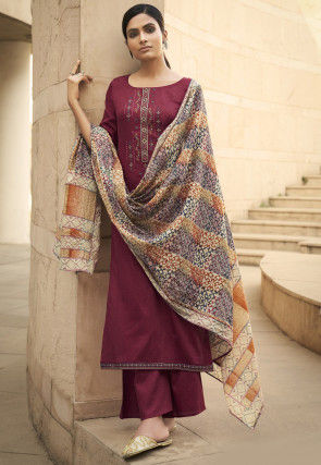 Embroidered Cotton Pakistani Suit in Maroon
