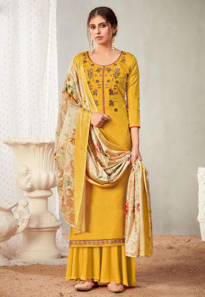 Embroidered Cotton Pakistani Suit in Mustard