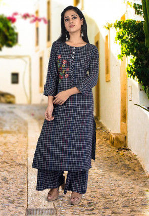 Embroidered Cotton Pakistani Suit in Navy Blue