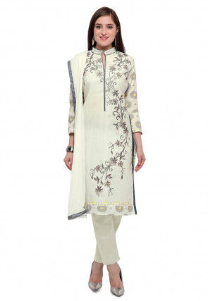 Embroidered Cotton Pakistani Suit in Off White