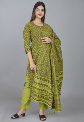 Embroidered Cotton Pakistani Suit in Olive Green