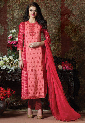 Embroidered Cotton Pakistani Suit in Peach and Red