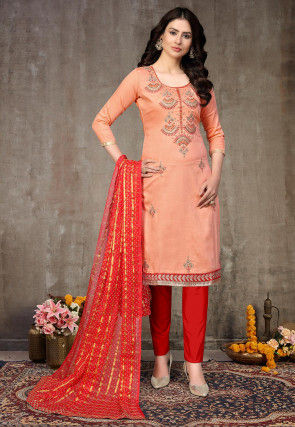 Embroidered Cotton Pakistani Suit in Peach