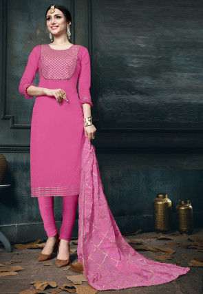 Embroidered Cotton Pakistani Suit in Pink