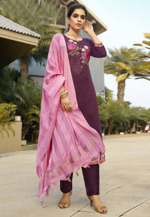 Embroidered Cotton Pakistani Suit in Purple