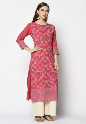 Rubber Printed Cotton Pakistani Suit in Red