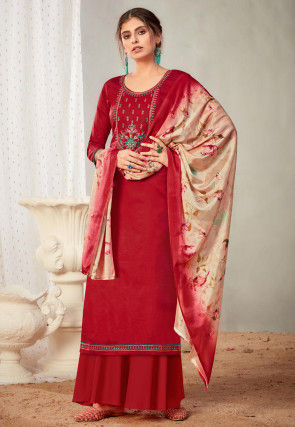 Embroidered Cotton Pakistani Suit in Red