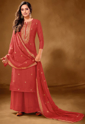 Embroidered Cotton Pakistani Suit in Rust