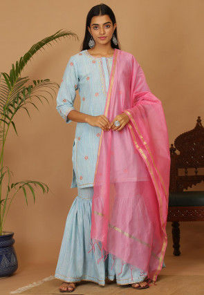 Embroidered Cotton Pakistani Suit in Sky Blue