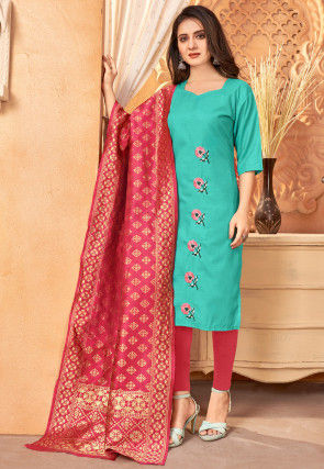Embroidered Cotton Pakistani Suit in Teal Green