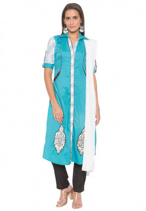 Embroidered Cotton Pakistani Suit in Turquoise and Off White