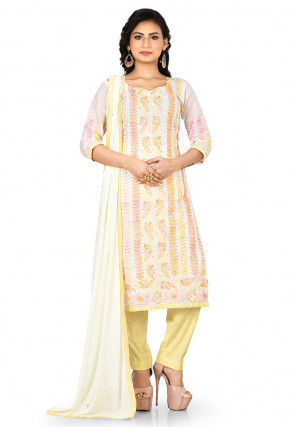 Embroidered Cotton Pakistani Suit in White