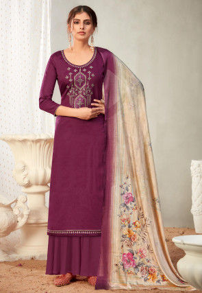 Embroidered Cotton Pakistani Suit in Wine