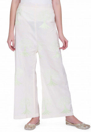 Embroidered Cotton Palazzo in Off White