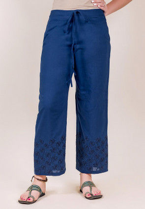 Embroidered Cotton Pant in Blue