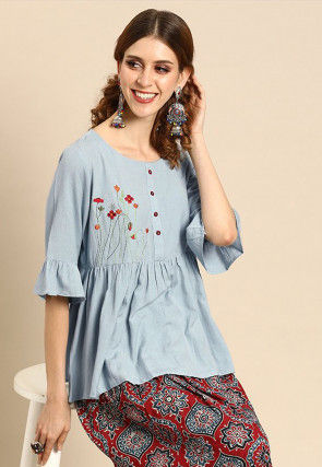 Embroidered Cotton Peplum Style Top in Sky Blue