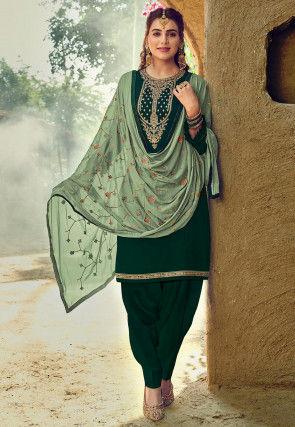 Embroidered Cotton Punjabi Suit in Dark Green