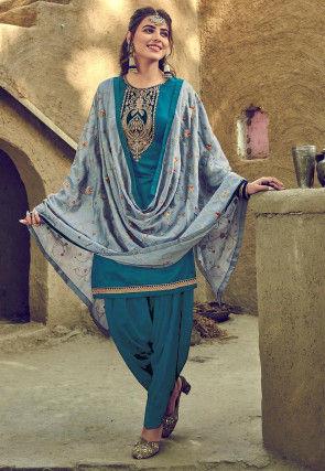 Embroidered Cotton Punjabi Suit in Dark Teal Blue