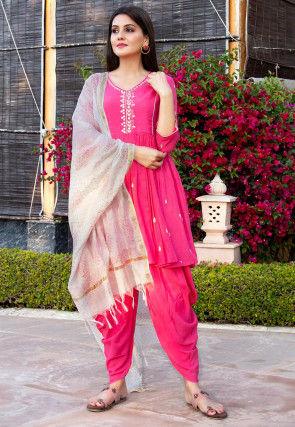 Embroidered Cotton Punjabi Suit in Fuchsia